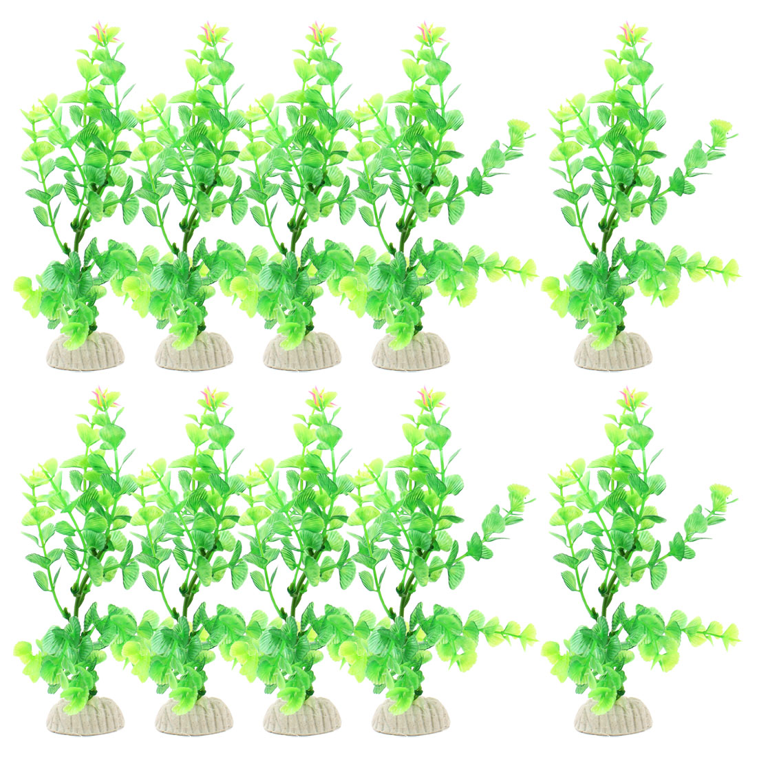 "7.9"" Height Green Plastic Grass Plant Adorning Fish Aquarium Landscape 10 Pcs"