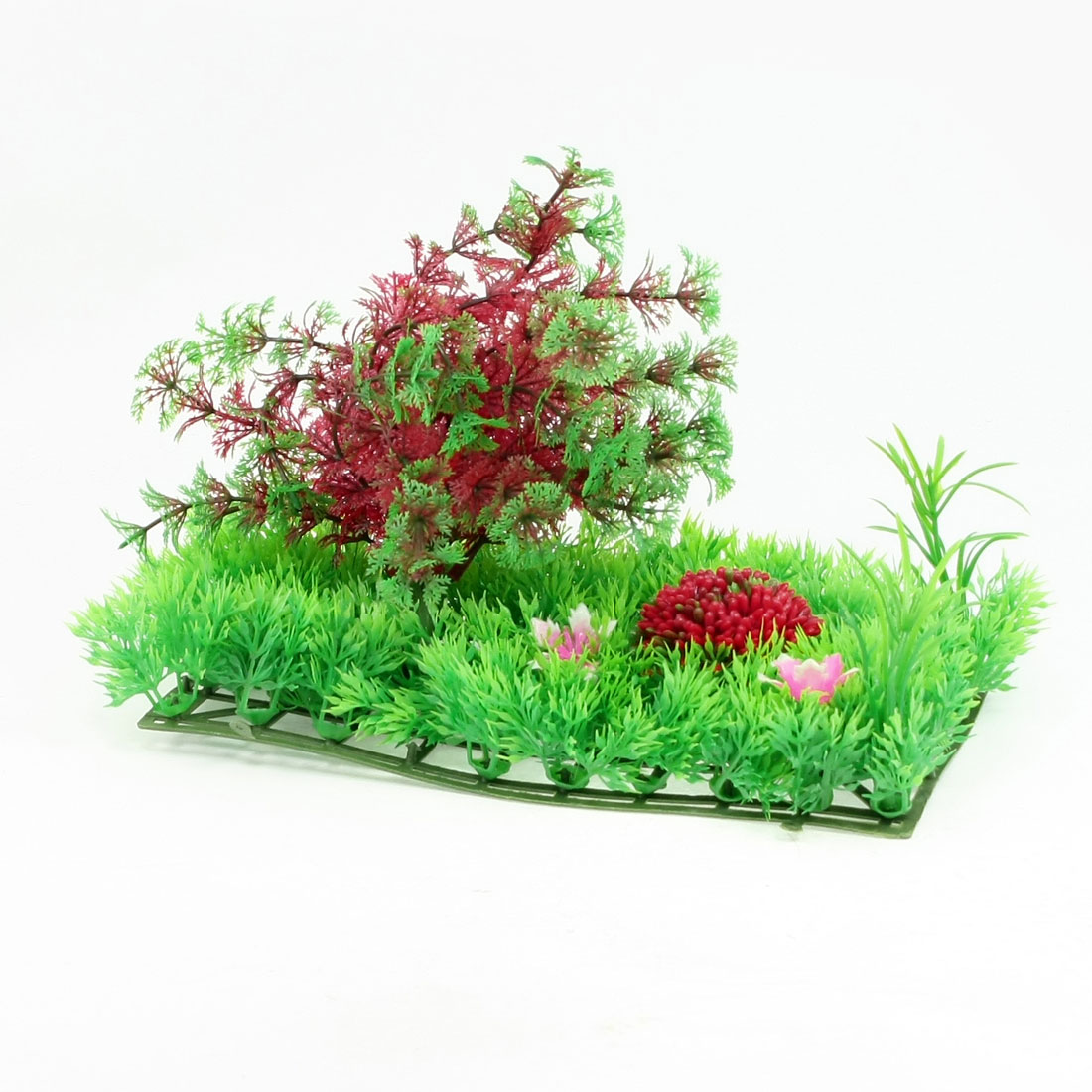 "Fish Tank Plastic Crimson Green Snow Flake Leaf Plants Lawn Decor 9.8"" x 4.5"""