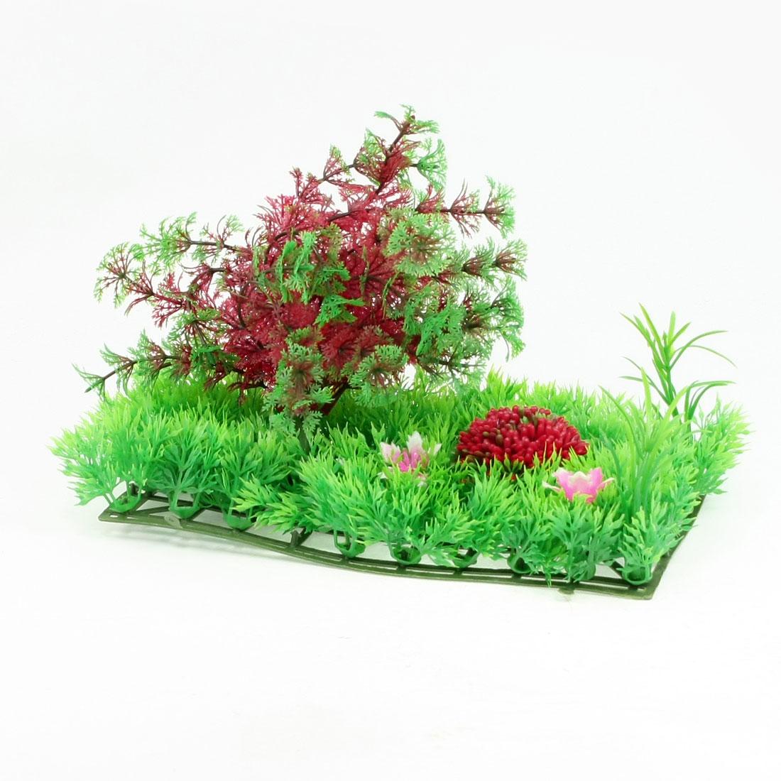"Fish Tank Plastic Crimson Green Snow Flake Leaf Plants Lawn Decor 9.8"" x 4.5"""