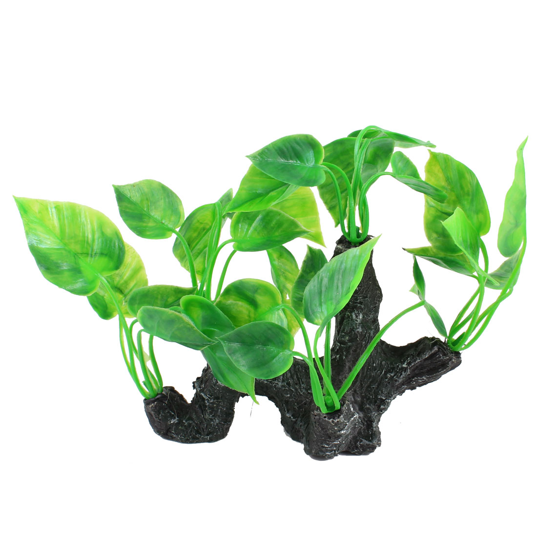 "Fish Tank Ceramic Rockery Plastic Leaves Decor Aquascaping Black Green 5.1"" Height"