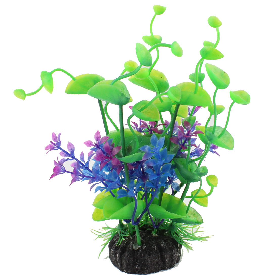"Blue Green Purpel Plastic Plants Grass Landscaping 7.9"" for Fish Tank"