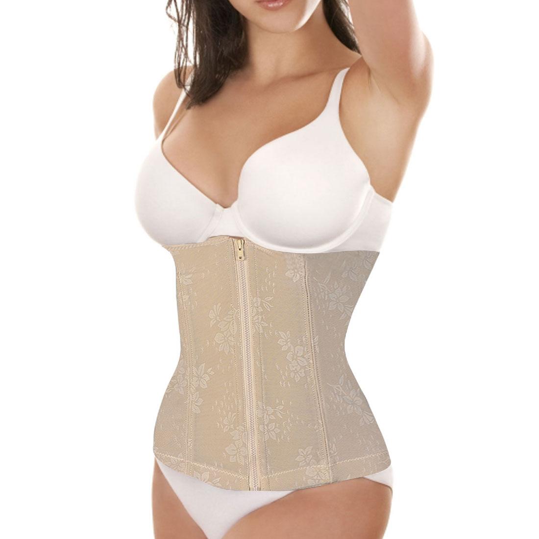 Ladies Stretch Shapewear Slimming Belt Zip Front Corset Waist Cincher Beige M