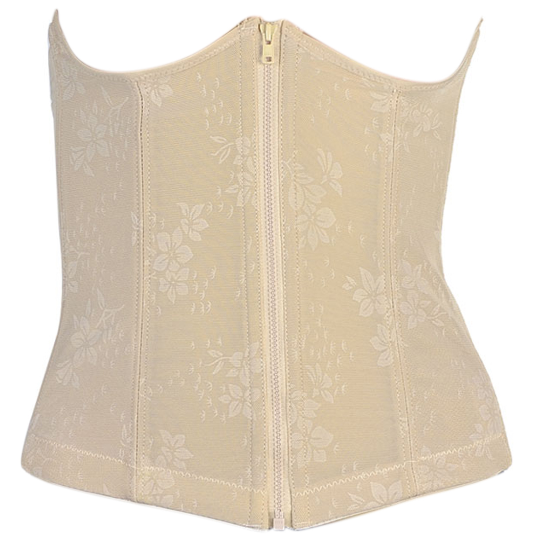 Ladies Stretch Shapewear Slimming Belt Zip Front Corset Waist Cincher Beige XS