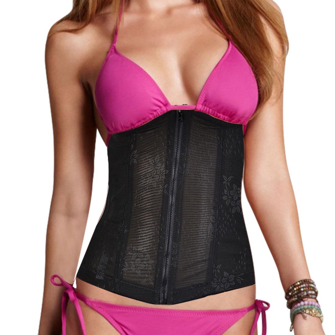 Women Elastic Shapewear Slimming Belt Zip Front Corset Waist Cincher Black S