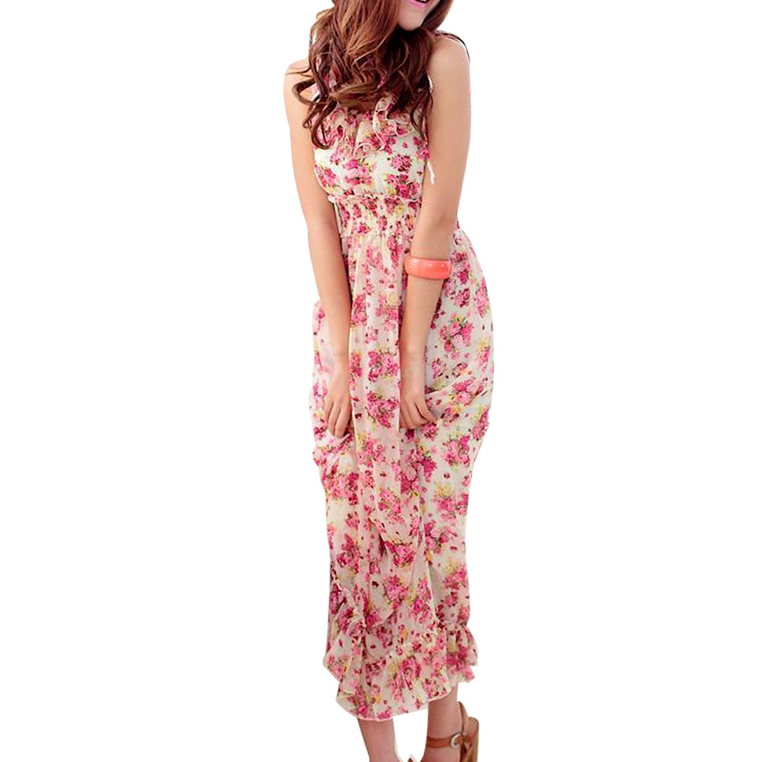 Women Charming Sleeveless Fuchsia Flowers Print Maxi Chiffon Dress White XS