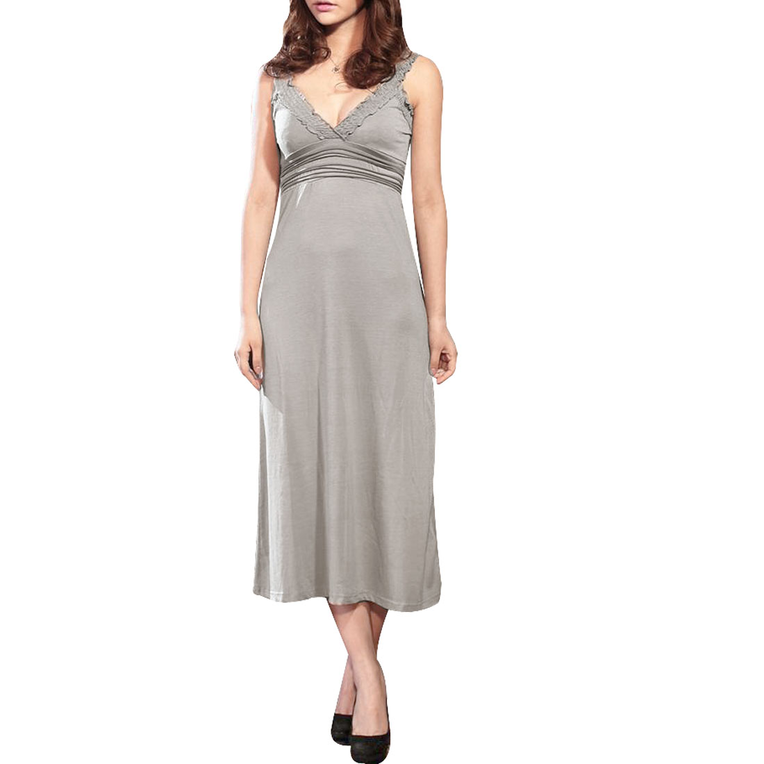 Ladies Charming Sexy Crossover V Neck Full Length Dress Gray XS