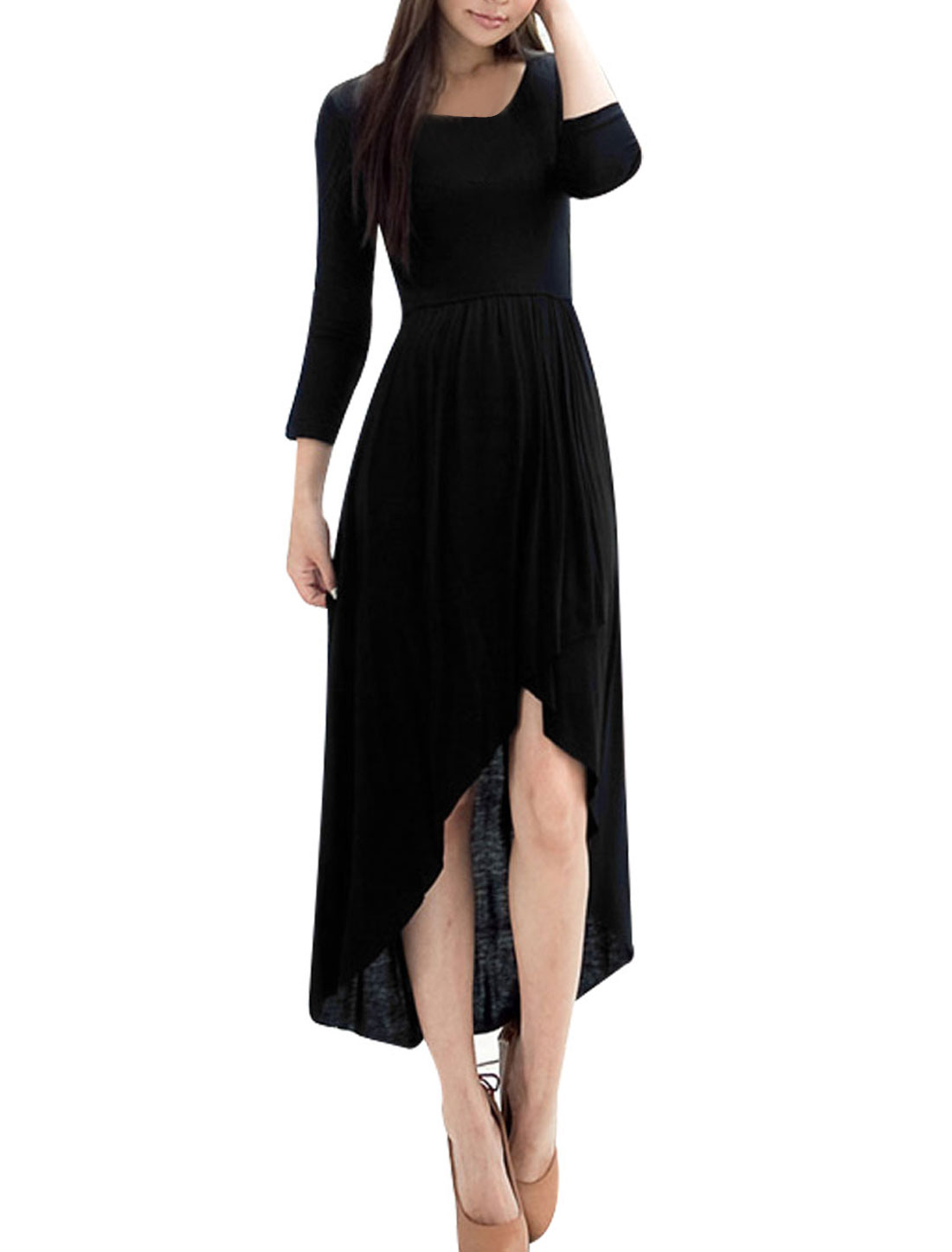 Ladies Solid Black Long Sleeves Crossover Front Spring Dress XS