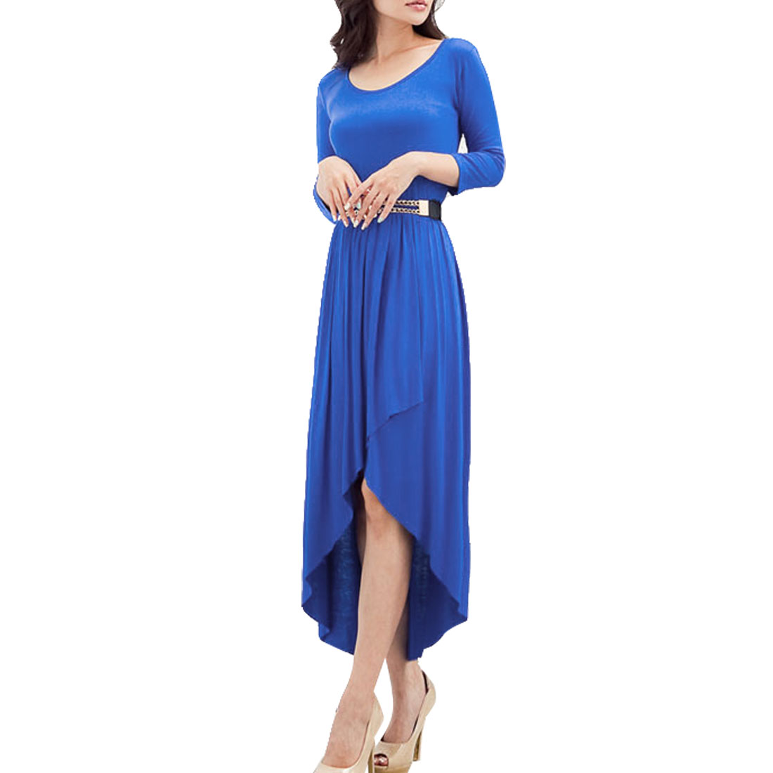 Woman Scoop Neck Long Sleeves Tulip Front High Low Hem Dress Blue XS