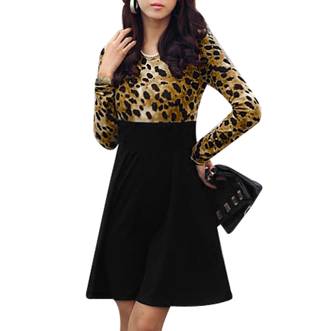 Women Leopard Print Long Sleeves Black Brown Spring Dress XS