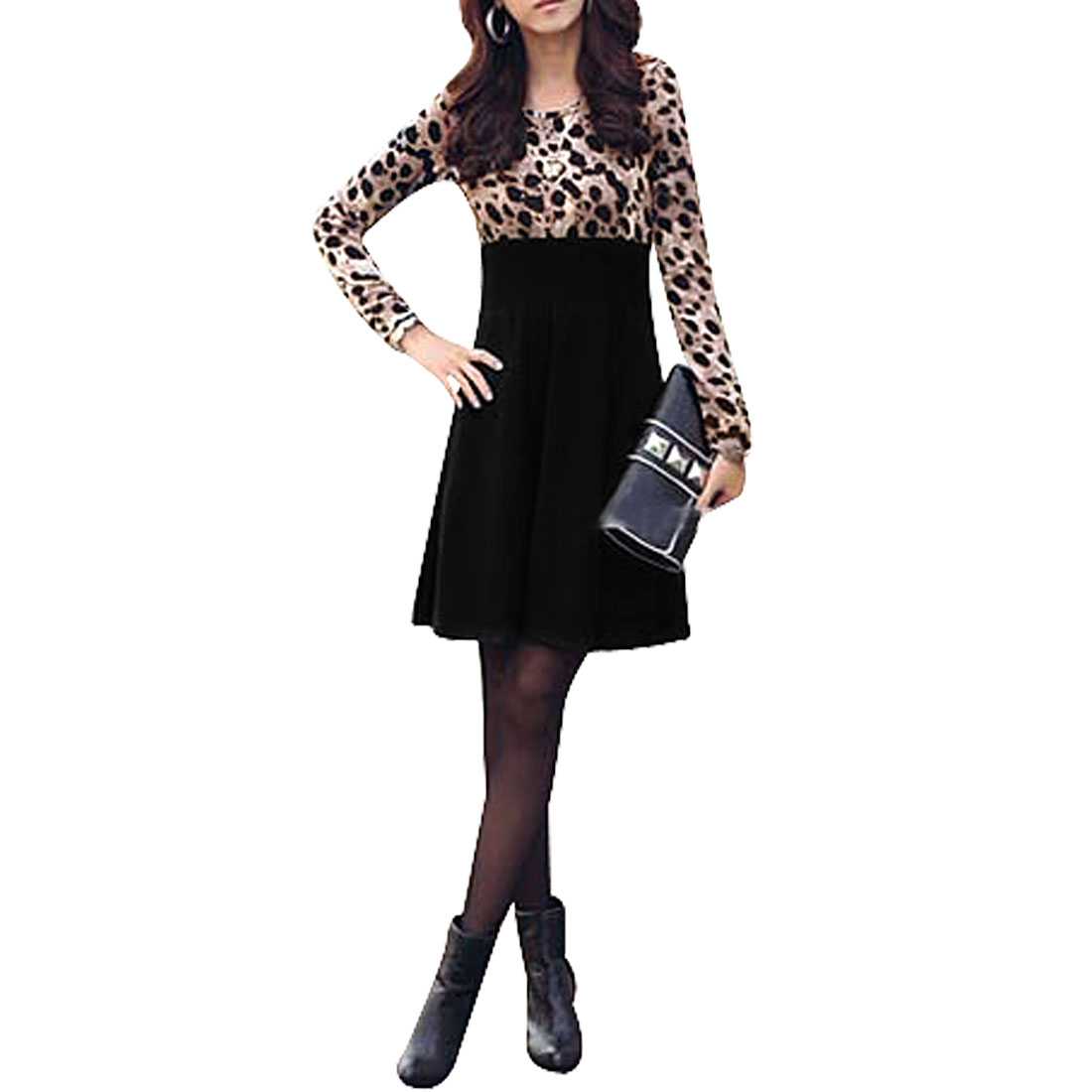 Ladies Leopard Pattern Long Sleeves Black Khaki A Line Dress XS