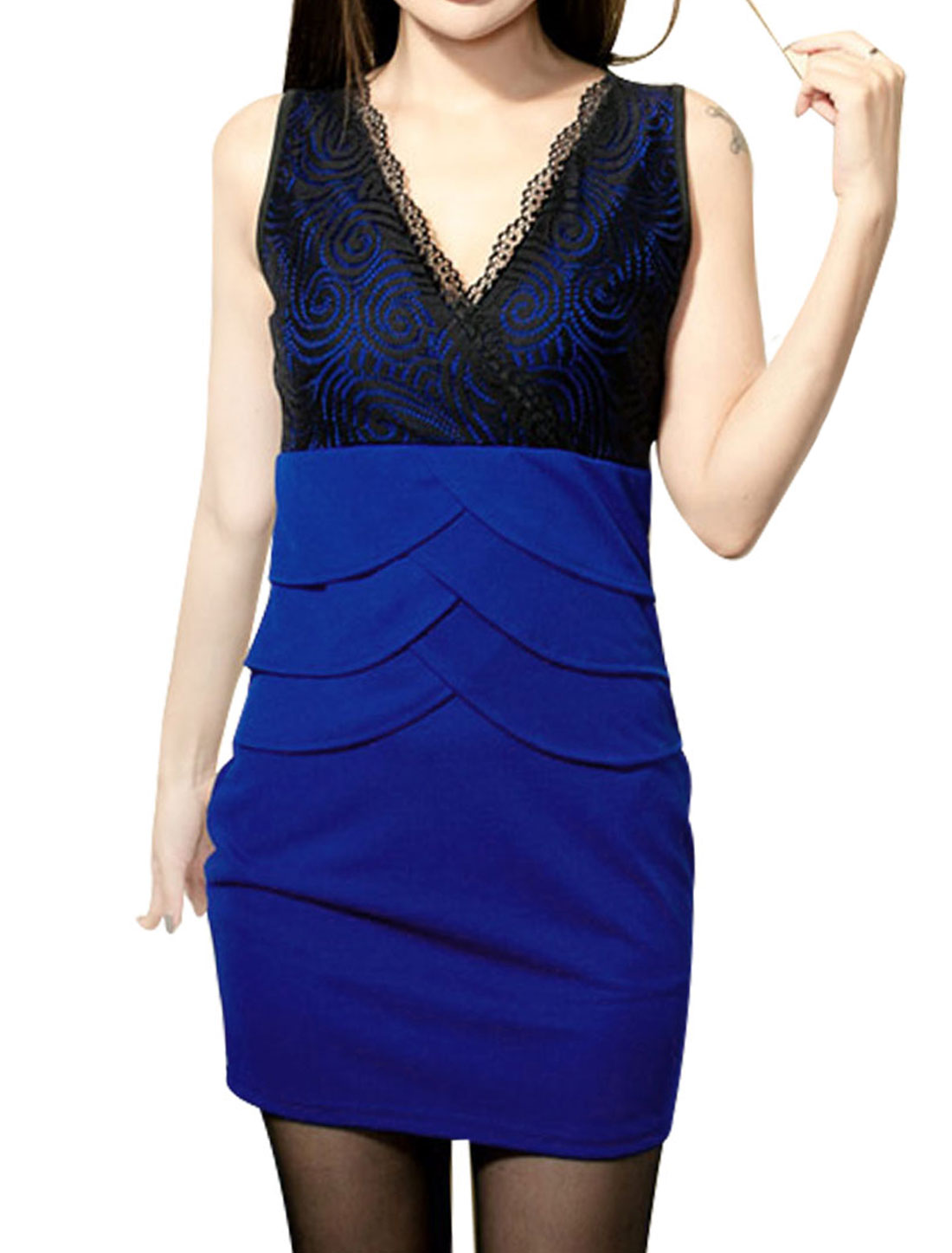 Ladies Sleeveless Royal Blue Black Cross Front Design Mini Dress XS