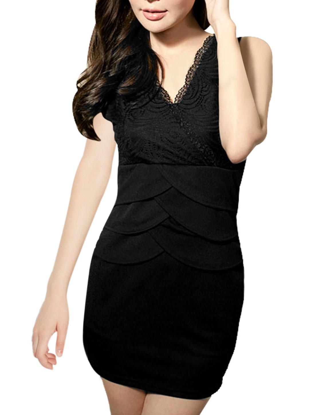 Lady Cross Front Empire Waist Black Sleeveless Mini Dress XS