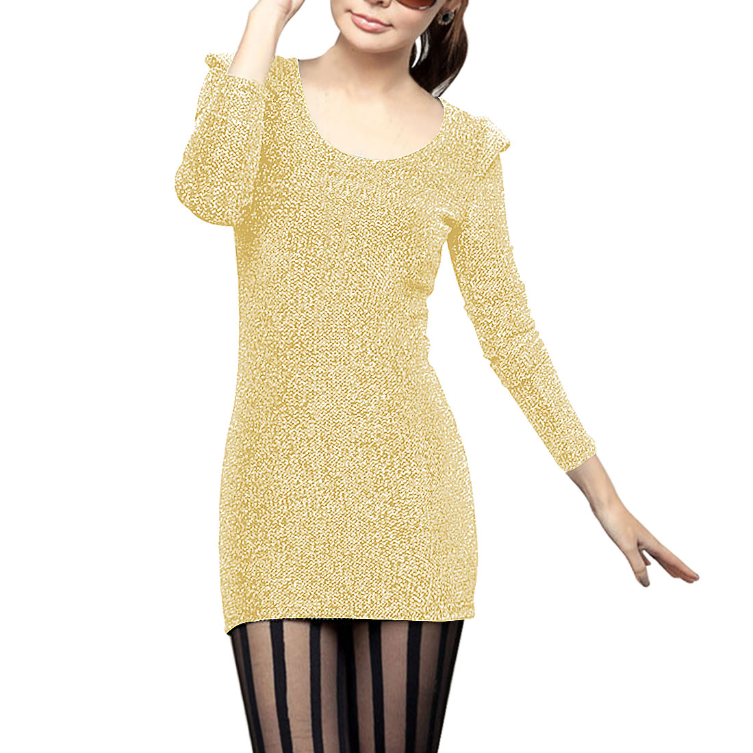 Women Beige Gold Tone Scoop Neck Long Sleeves Mini Dress XS