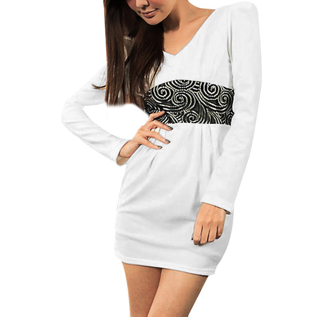 Ladies Black Lace Accent Double V Neck White Sheath Mini Dress XS