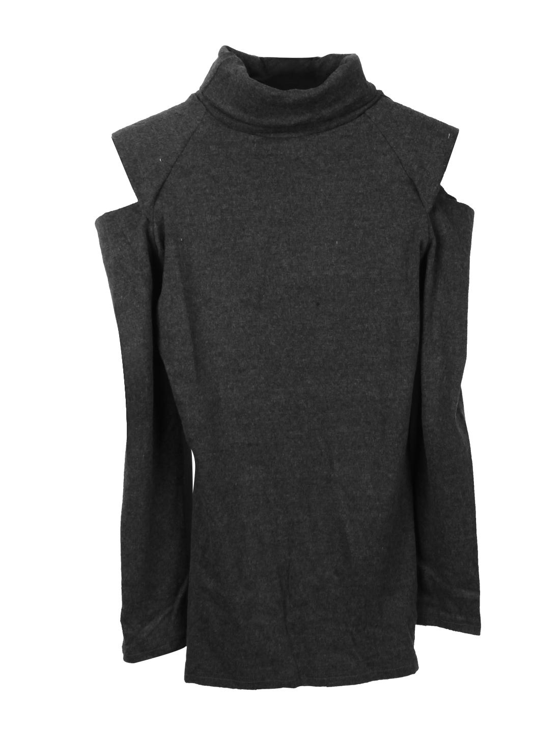 Ladies Dark Gray Turtle Neck Long Sleeves Shirt Blouse XS