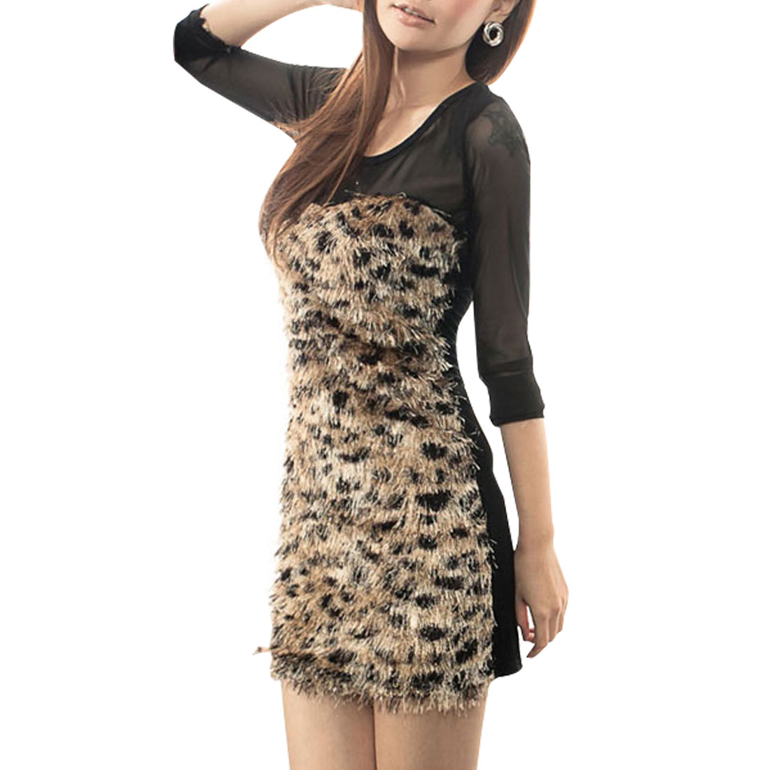 Pullover Black Sheer Long Sleeves Mini Dress Brown XS for Ladies