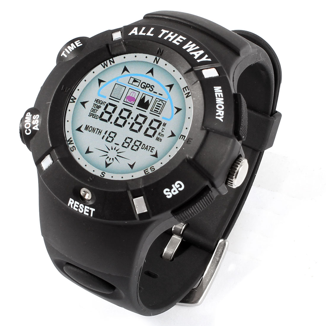 All The Way GPS Tracker Integrated Version Water-resistant Sport Watch Black