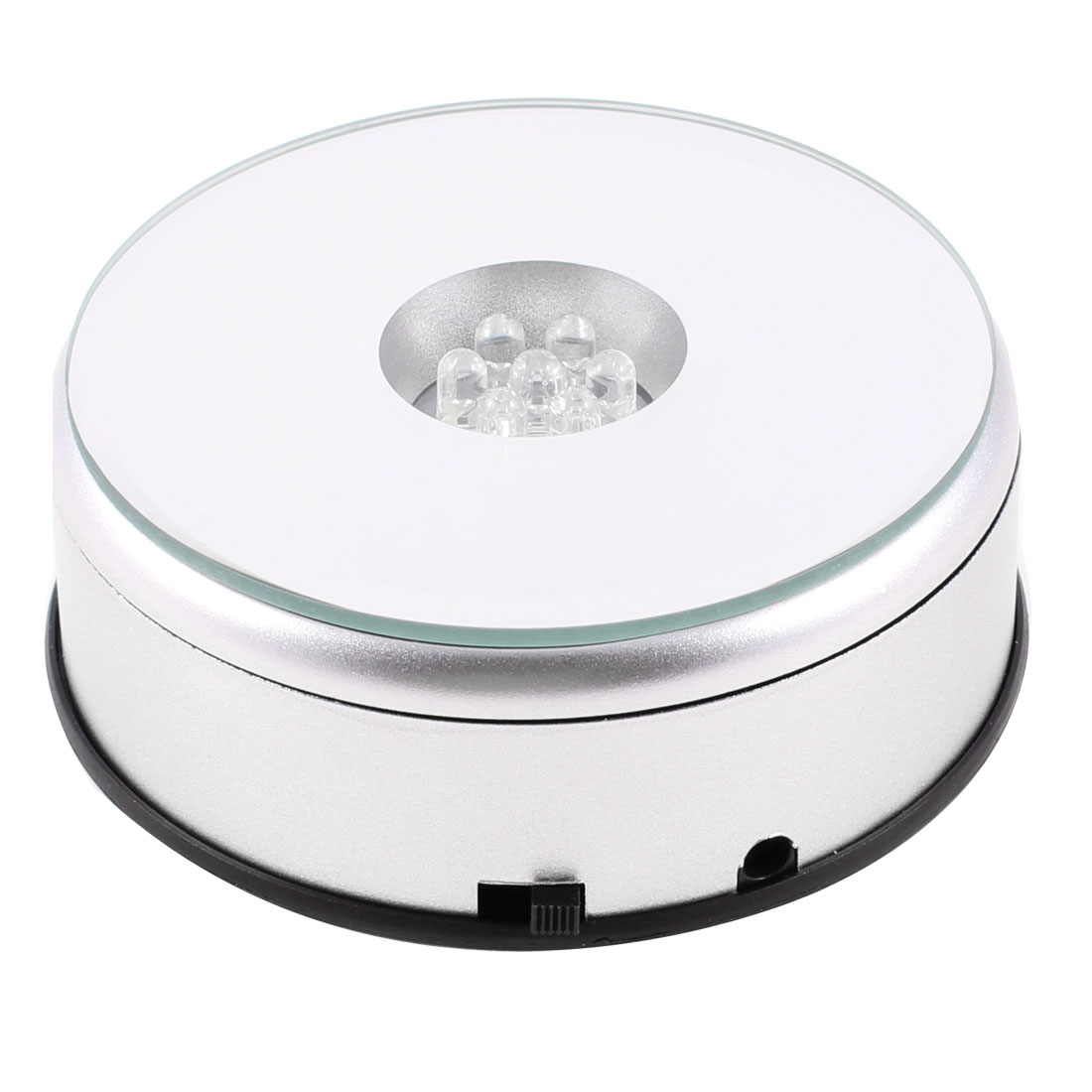 7 LED Light Stand Turntable Rotating Base for Display Crystals Glass
