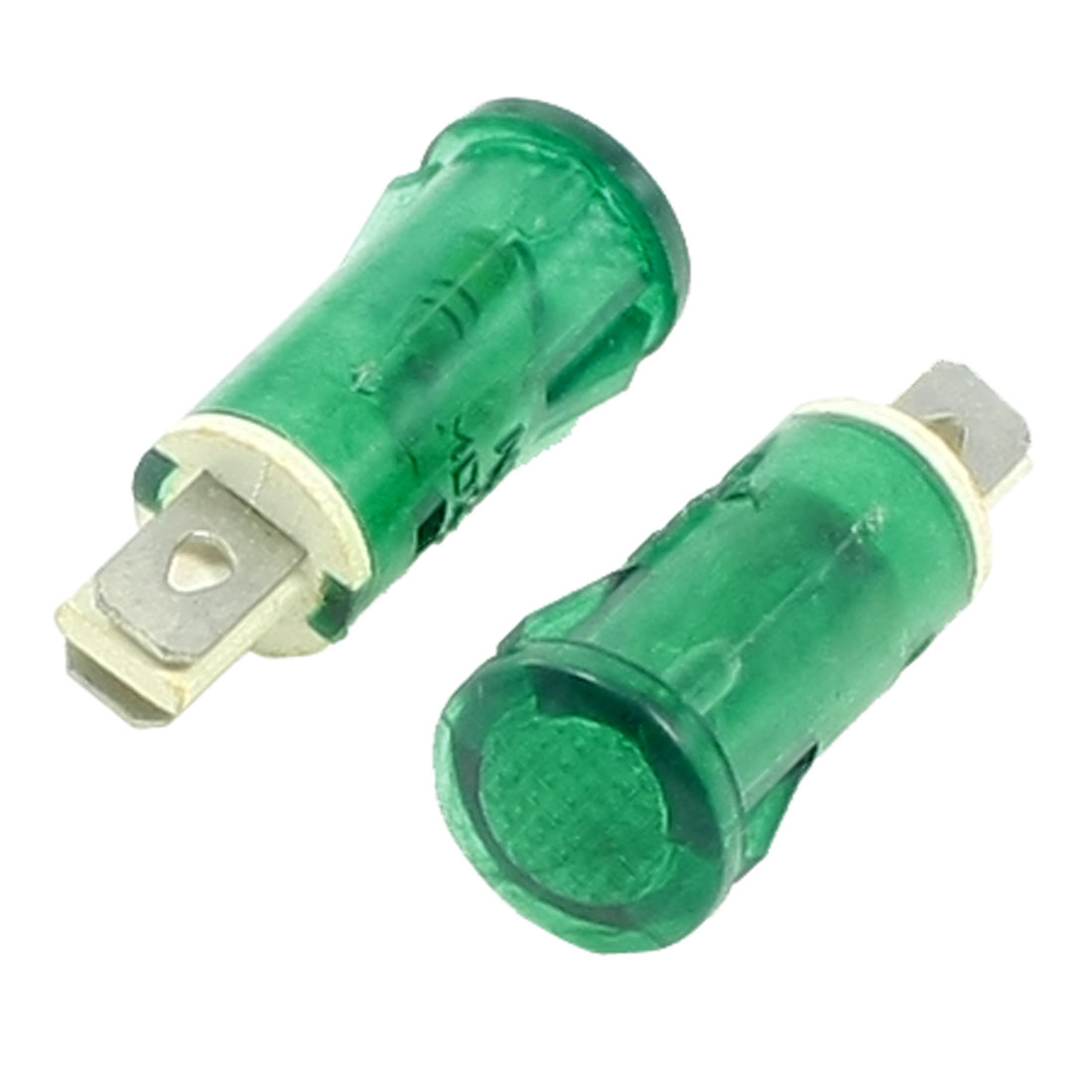 AC 220V Flat Head 2 Terminals Green Pilot Signal Indicator Light 2 Pcs