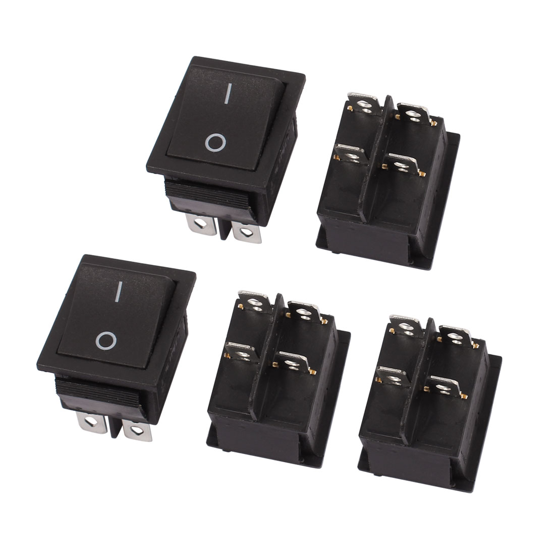 4 Pcs AC 250V 16A 125V 20A 4 Pin DPST Black On/OFF Rocker Switch