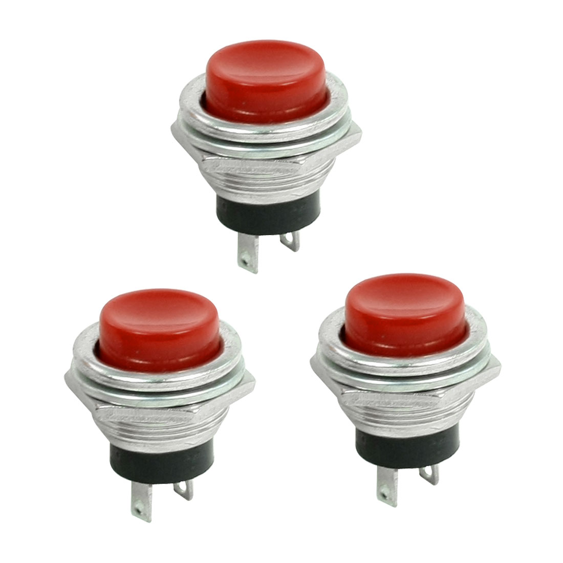3 Pcs Red Cap SPST Momentary Panel Mount Pushbutton Switch AC 3A/125V