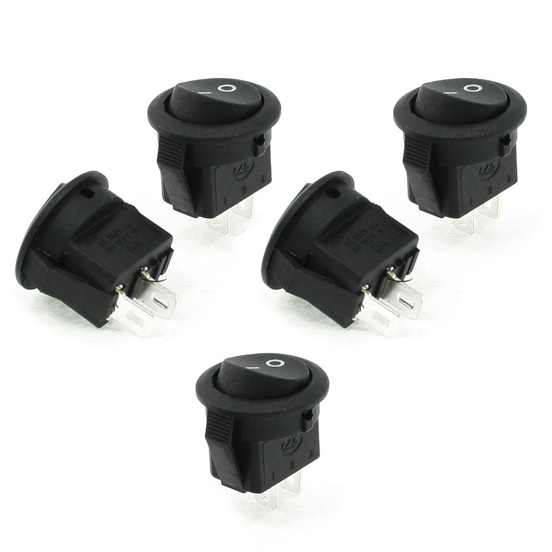 5 Pcs AC 125V/6A 250V/3A SPST ON OFF Rocker Boat Switches Black