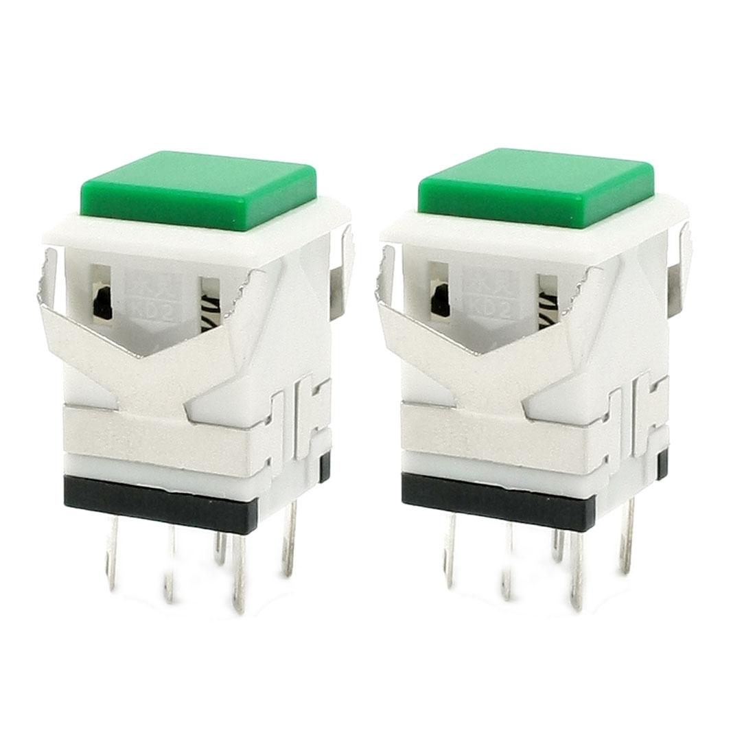 2 Pcs Green Momentary SPDT Push Button Switch AC 250V 3A AC 125V 6A