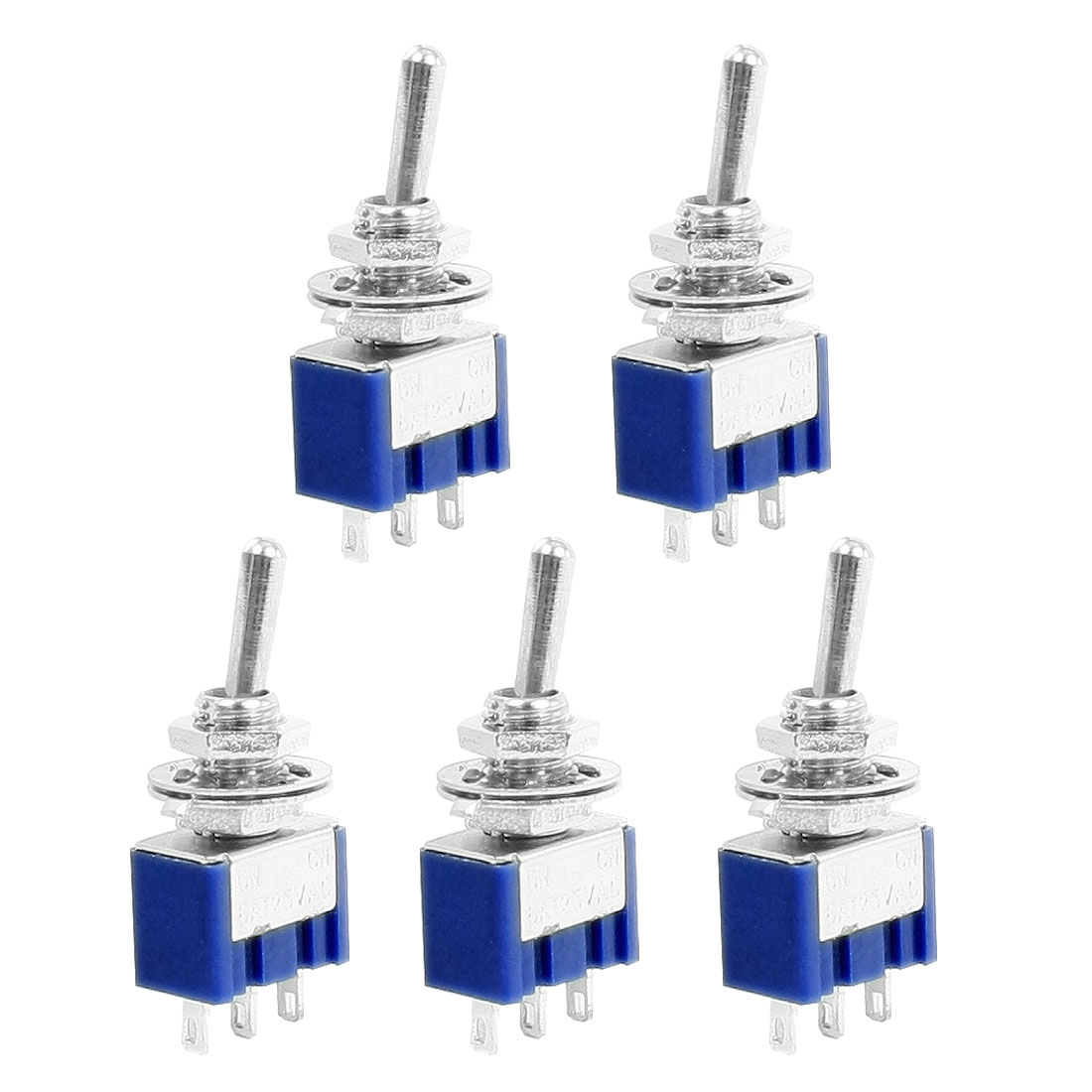 5 Pcs ON/ON Double Poles Dual Throws 3-Terminals Toggle Switch 6A 125VAC