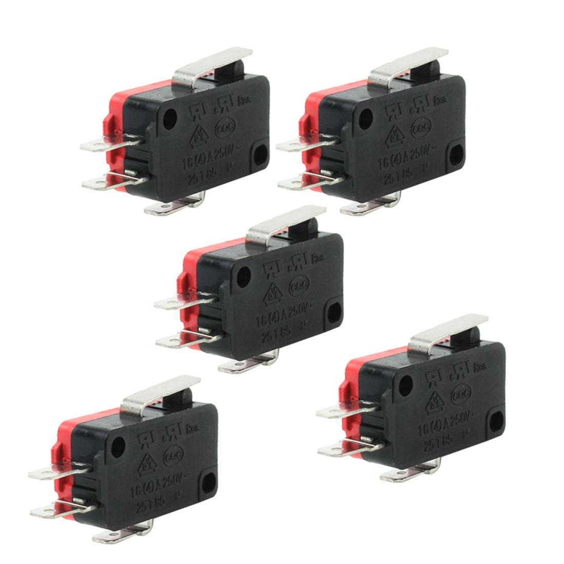 5 Pcs 1NO+1NC Press Actuator Limit Micro Switch AC 250V 16A 4A