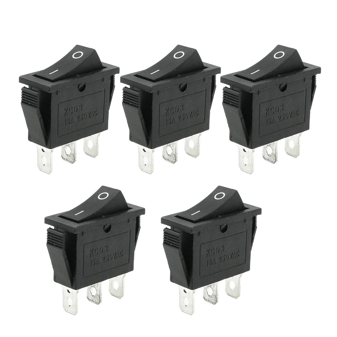 AC 250V 15A 2 Terminals SPST Black Rectangle On/Off Rocker Switch 5 Pcs