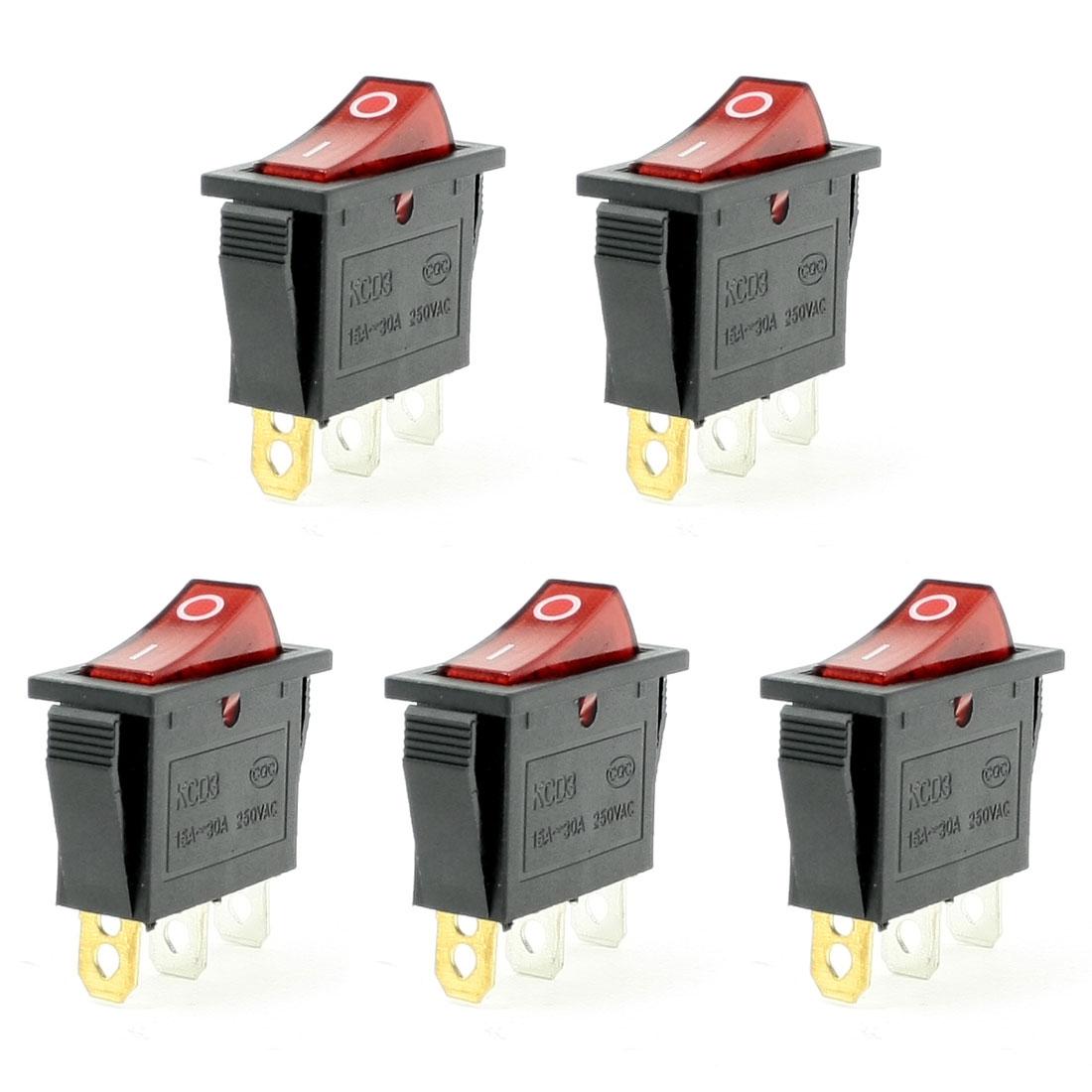 5 Pcs 3 Pin SPST Red Neon Light On/Off Rocker Switch AC 250V 15/30A