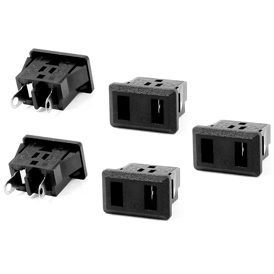 AC 125V 12A 2 Terminals US 2 Terminals Power Socket Connector Black 5 Pcs
