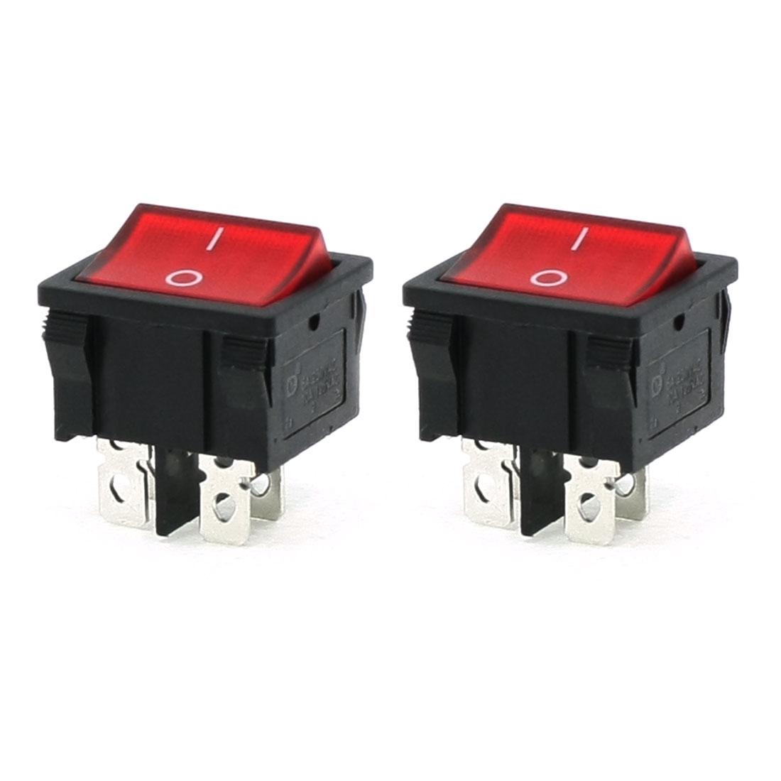 AC 250V/6A 125V/10A 4 Pins DPST On/Off Rocker Switch 2 Pcs