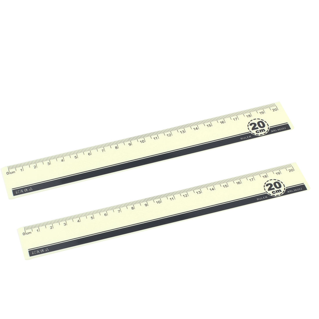 20cm Light Yellow Centimeter Scale Plastic Straight Ruler Measure Tool 2 Pcs