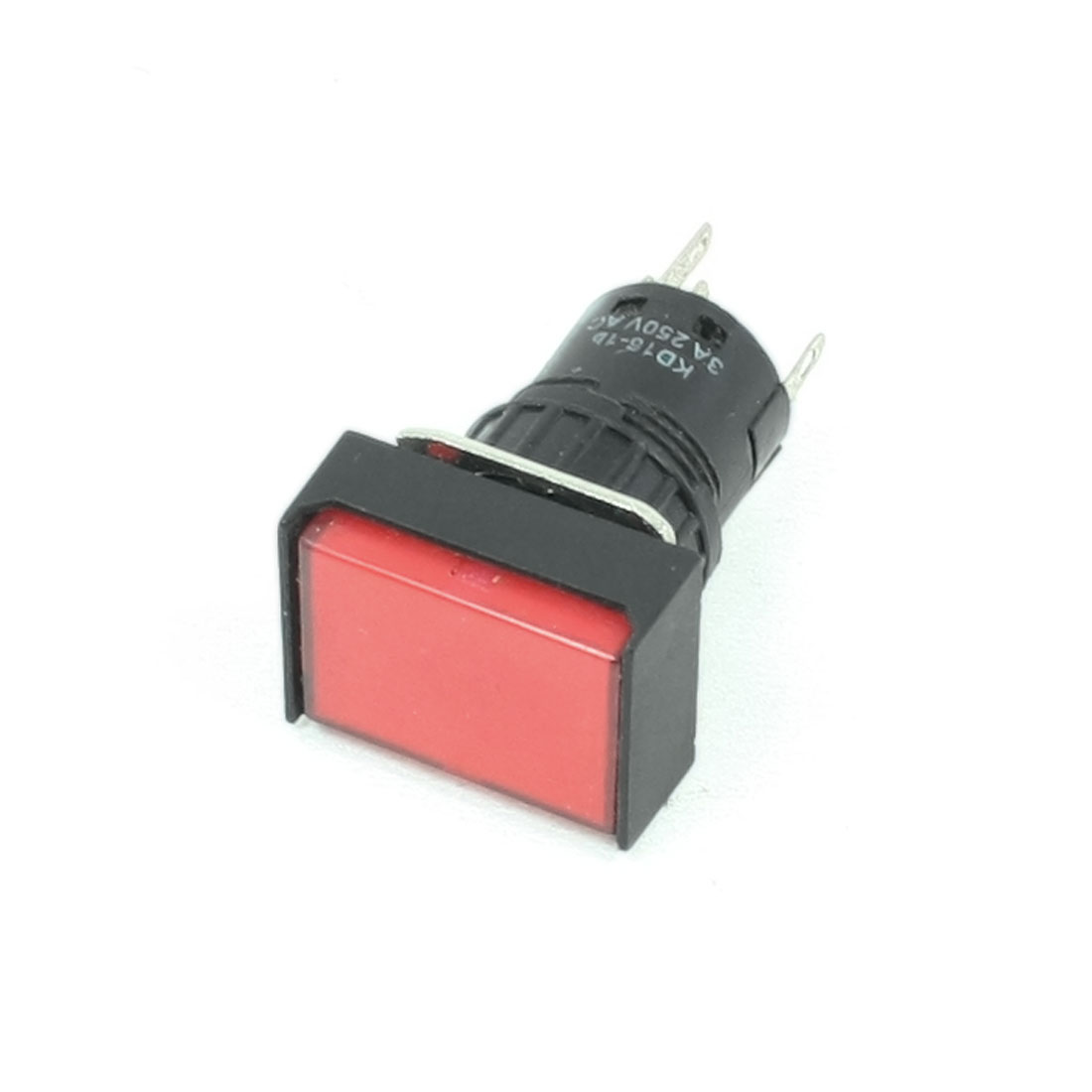 AC 250V 3A Red Lamp Light Panel Latching Rectangle 16mm Push Button Switch