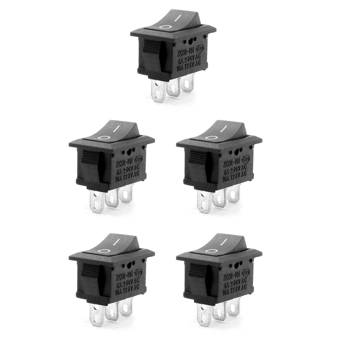 5 Pcs SPDT Black Button O/O Rectangle Rocker Switch AC 6A/250V 10A/125V