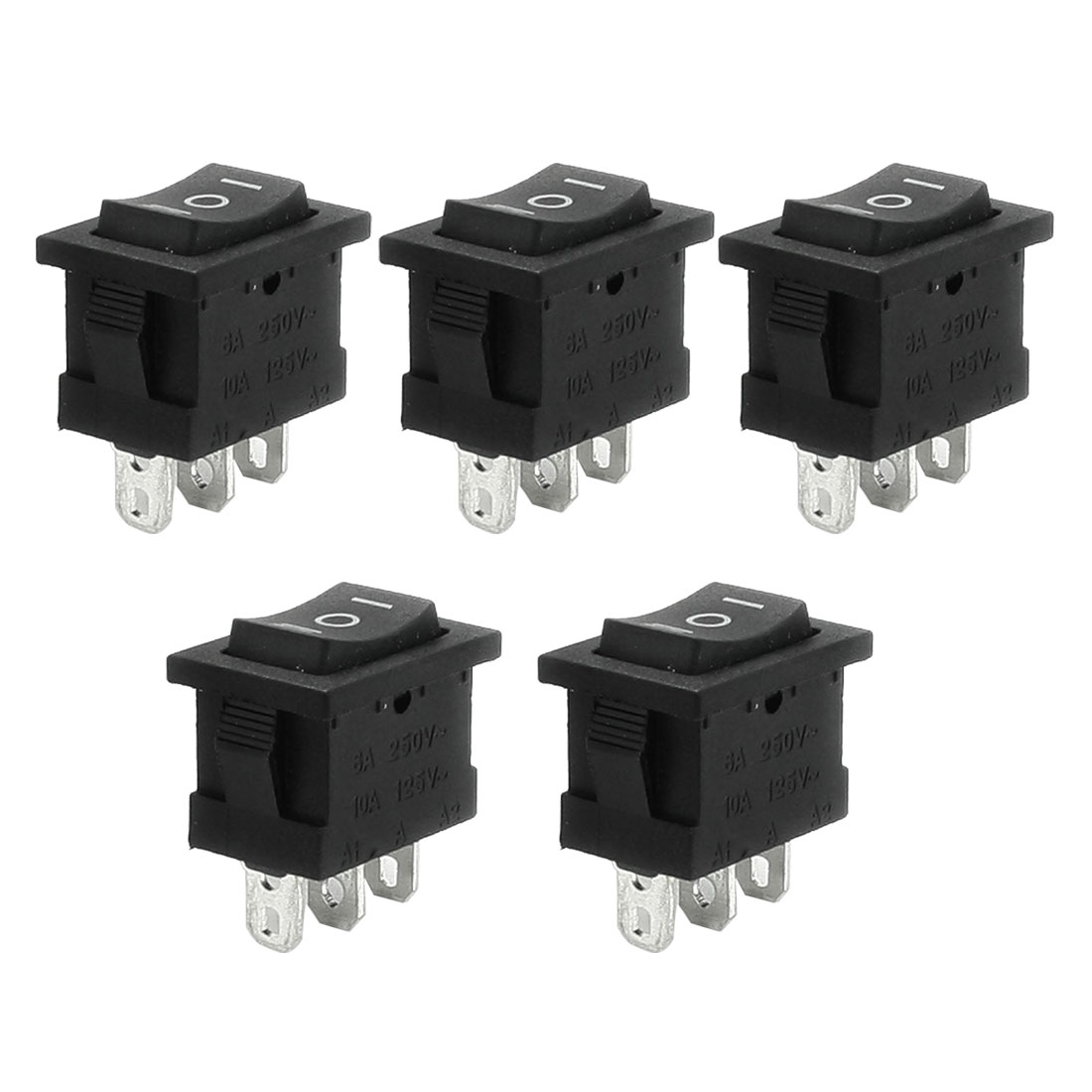 5 Pcs SPDT Black Button On/Off/On Rocker Switch AC 6A/250V 10A/125V