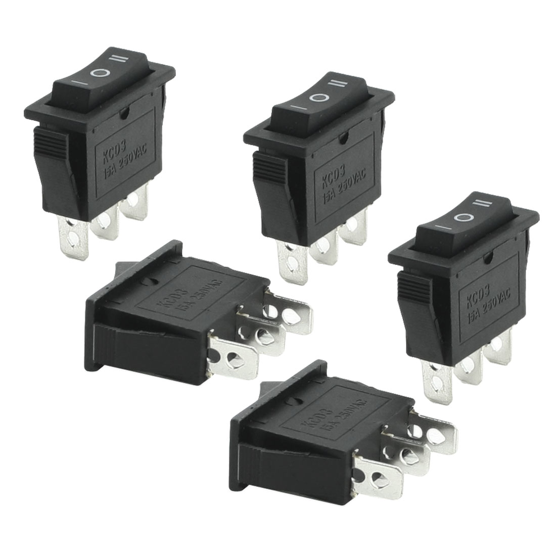 5 Pcs 3 Pins SPDT Black On/Off/On Rocker Switch AC 250V 15A