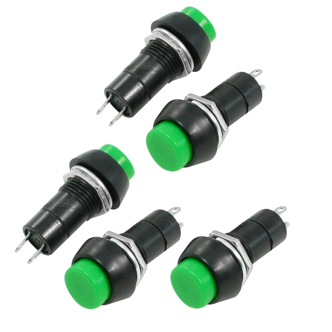 3A 250V AC Green Cap SPST OFF-(ON) Momentary Push Button Switch 5 Pcs