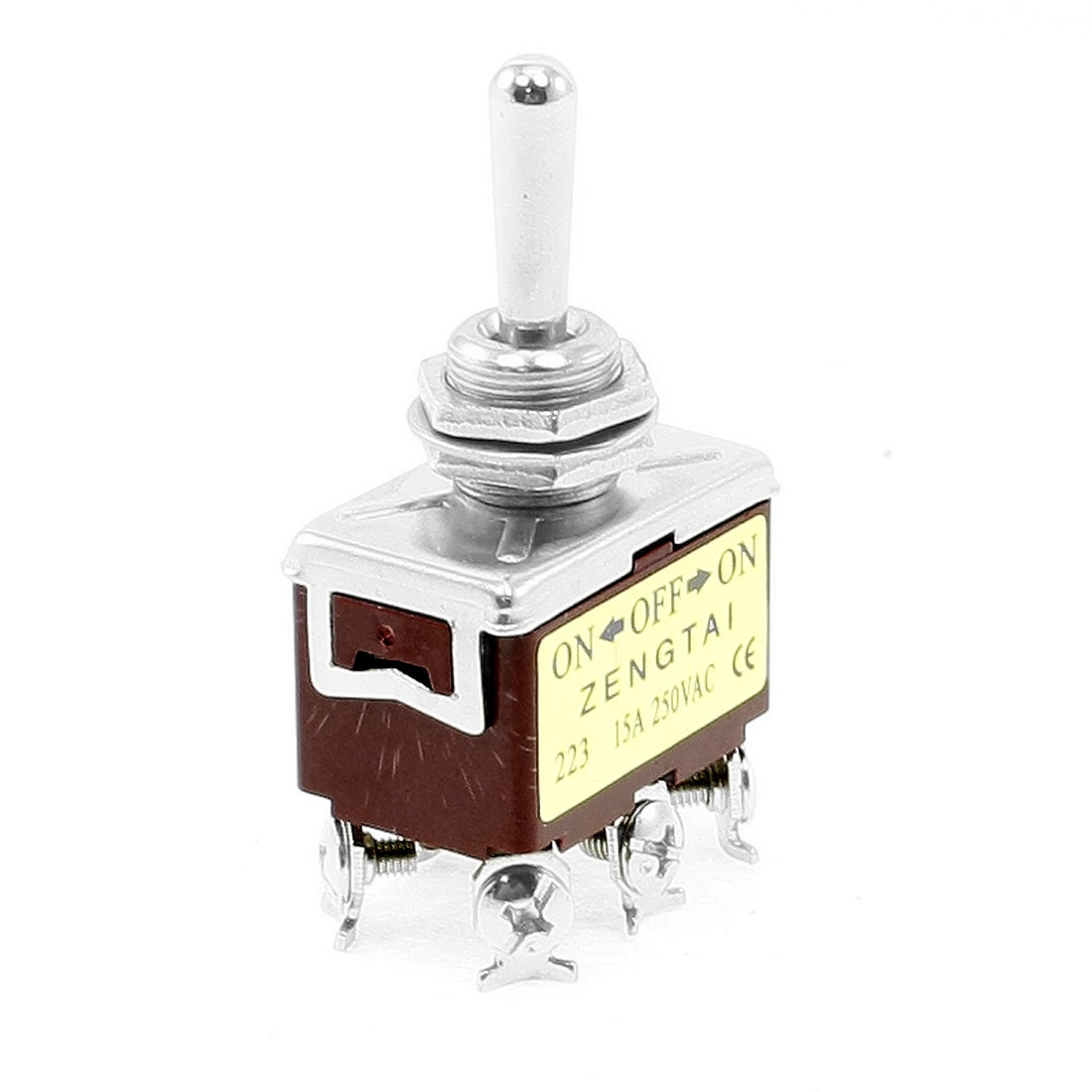DPDT ON/OFF/ON 3 Position Panel Mounted Nonlocking Toggle Switch 15A 250VAC