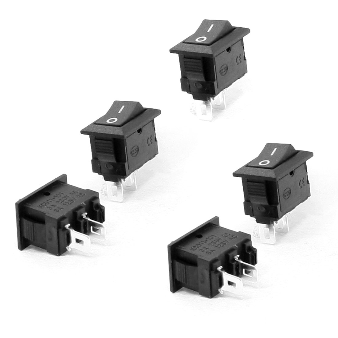 5 Pcs 2 Terminal SPST Black On/On Snap in Rocker Switch AC 250V/3A 125V/6A