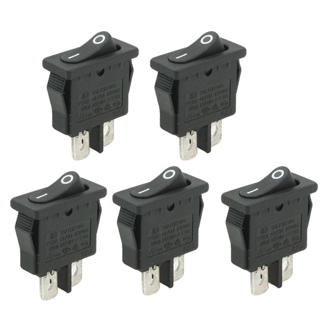 5 Pcs 6A/250V 10A/125V AC Single Pole Single Throw O/F Rocker Switch