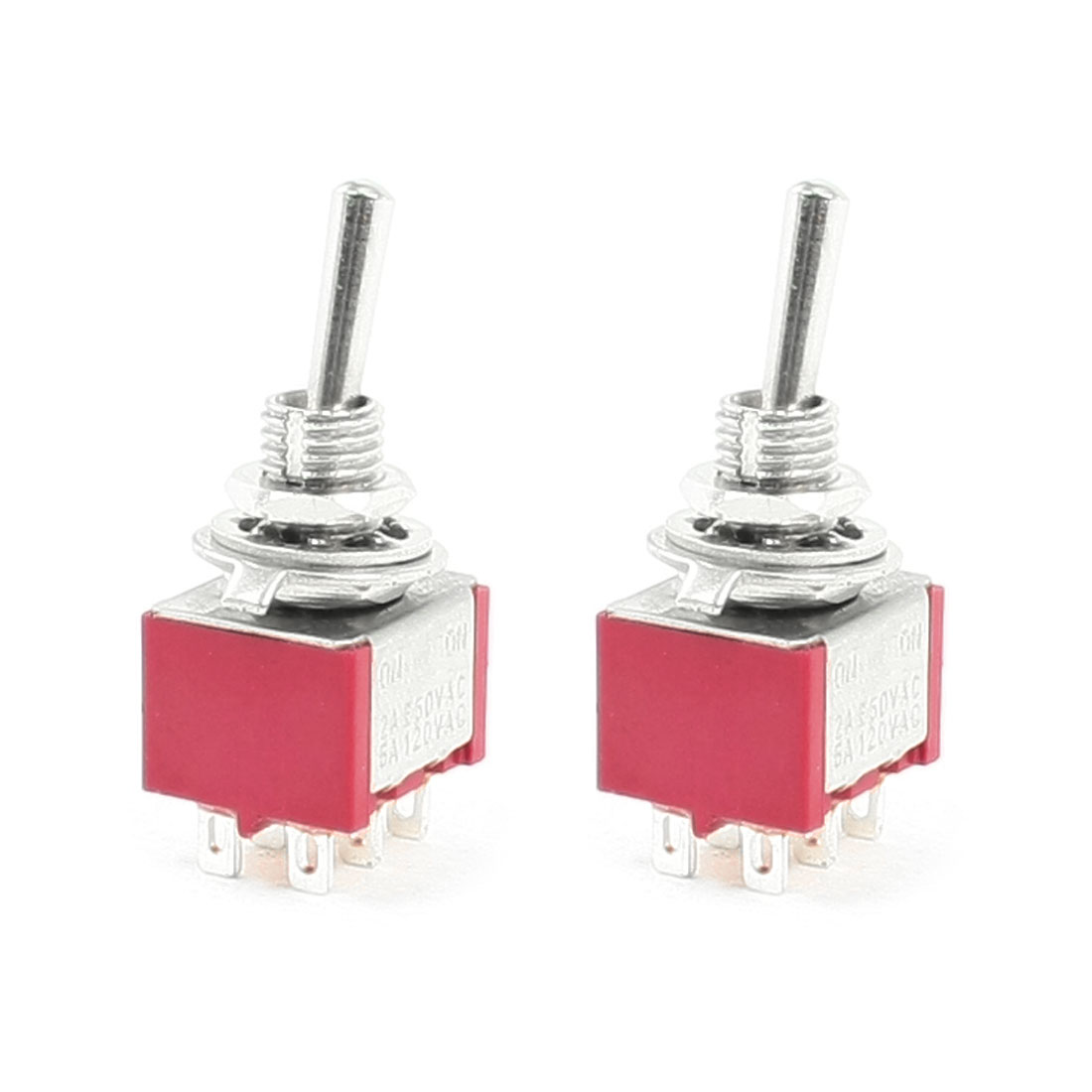 2 Pcs DPDT ON/ON 6 Pin Panel Mounted MTS-202 Toggle Switch 2A/250VAC 5A/120VAC