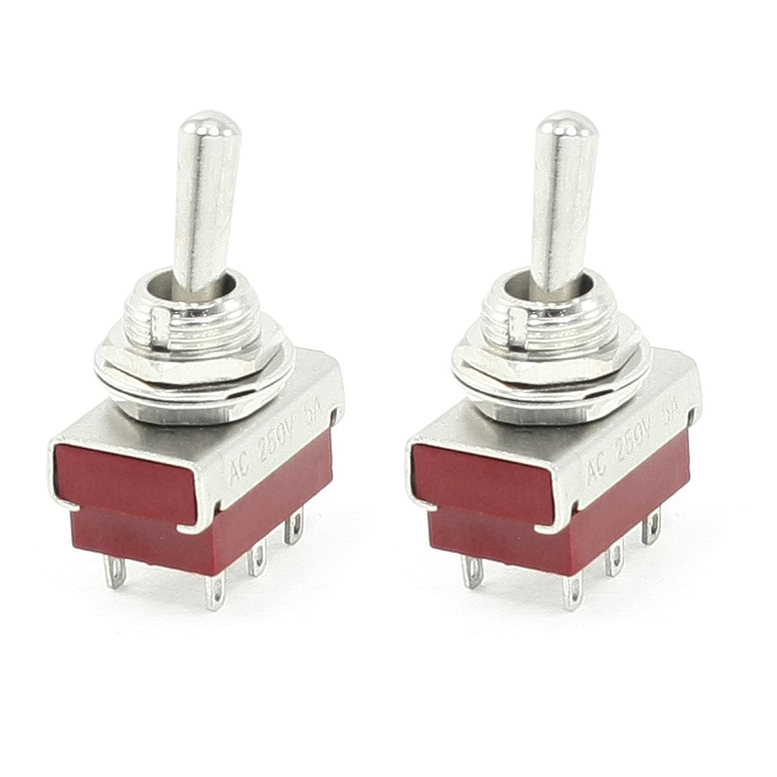2 Pieces DPDT ON-ON 6 Pin Panel Mounted Toggle Switch 5A AC 250V