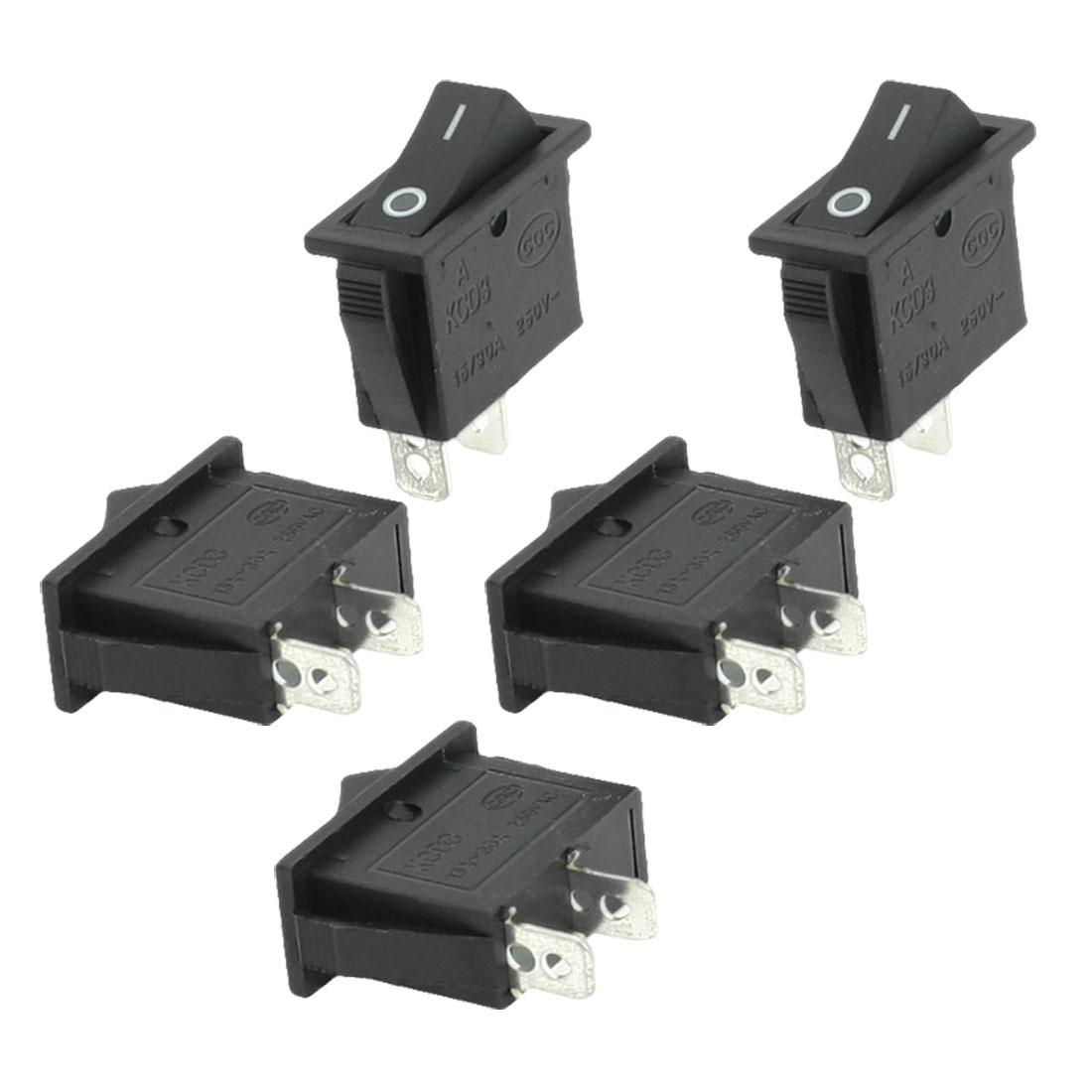 5 Pcs 2 Terminal SPST Black On/Off Rocker Switch AC 250V 10/30A
