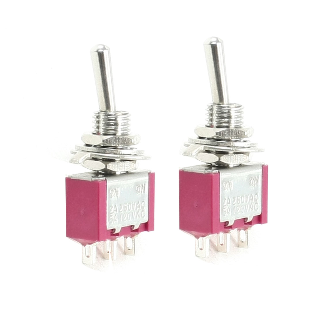 2 Pcs ON/ON DPDT 3-Terminals MTS-102 Type Toggle Switch 5A/125VAC 2A/250VAC