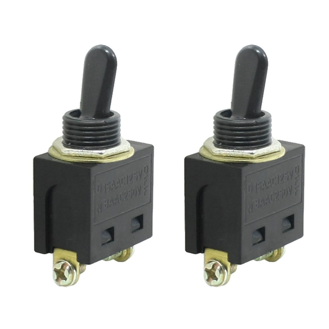 AC 250V/8A 125V/15A 2 Terminal On-Off 2 Positions SPST Toggle Switch Pair