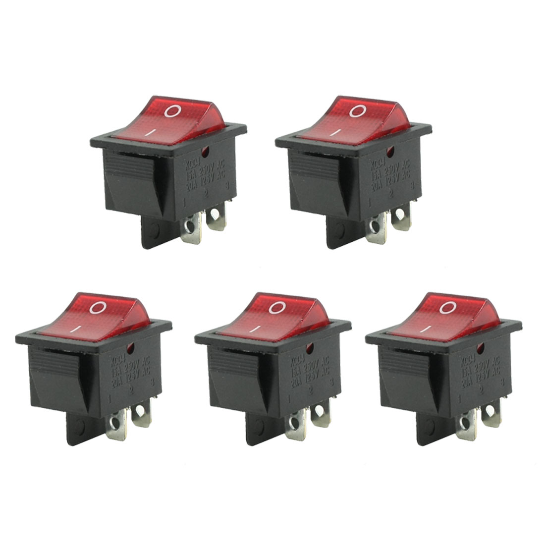 AC 15A 250V 20A 125V 4 Pin DPST ON-OFF Snap In Rocker Boat Switch 5PCS