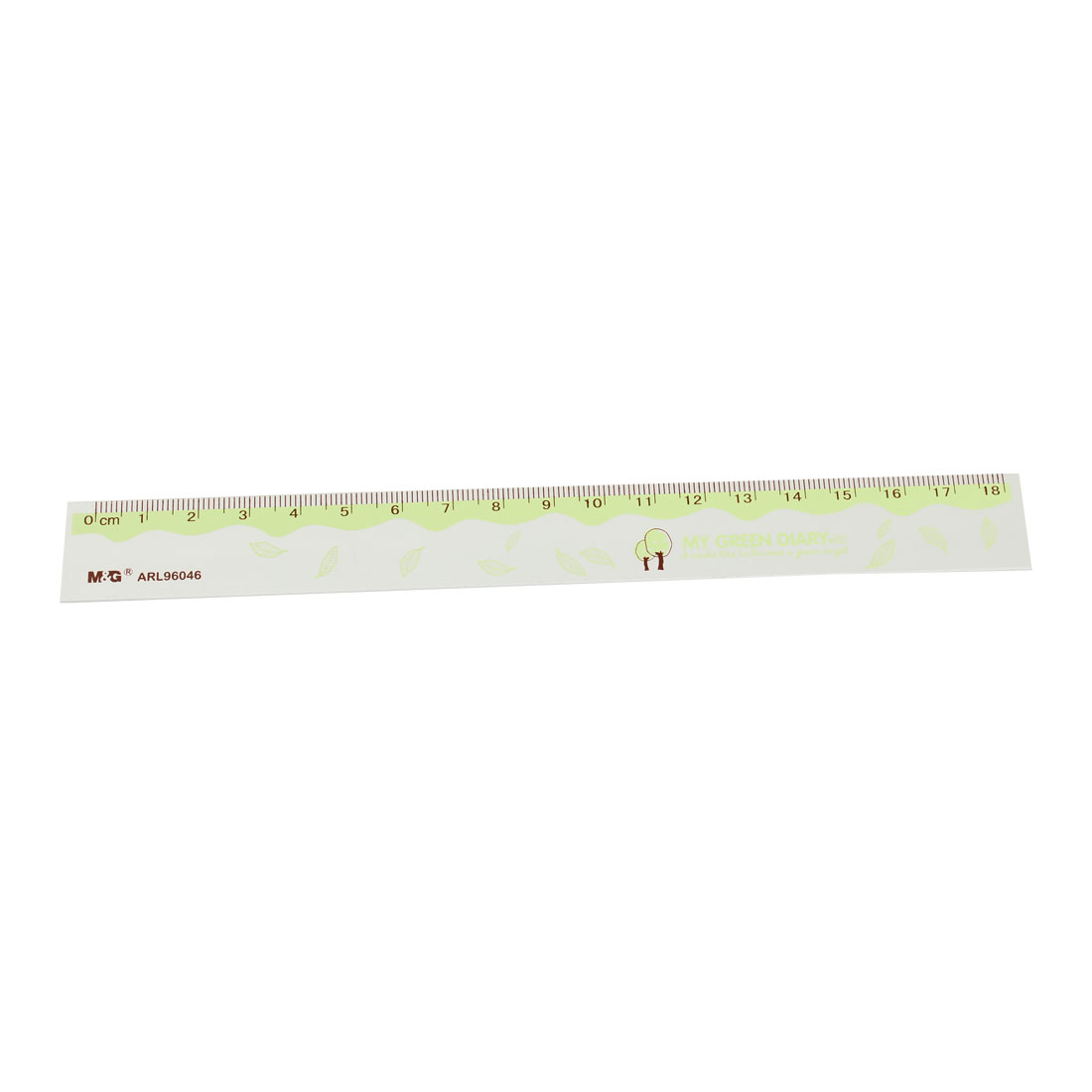 0-18cm Green Sliver Tone Aluminum Alloy Straight Measuring Ruler