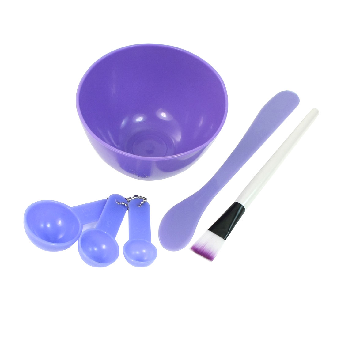 DIY Homemade Mask Bowl Spoons Brush Stick Facial Facemask Mixing Care Set Purple